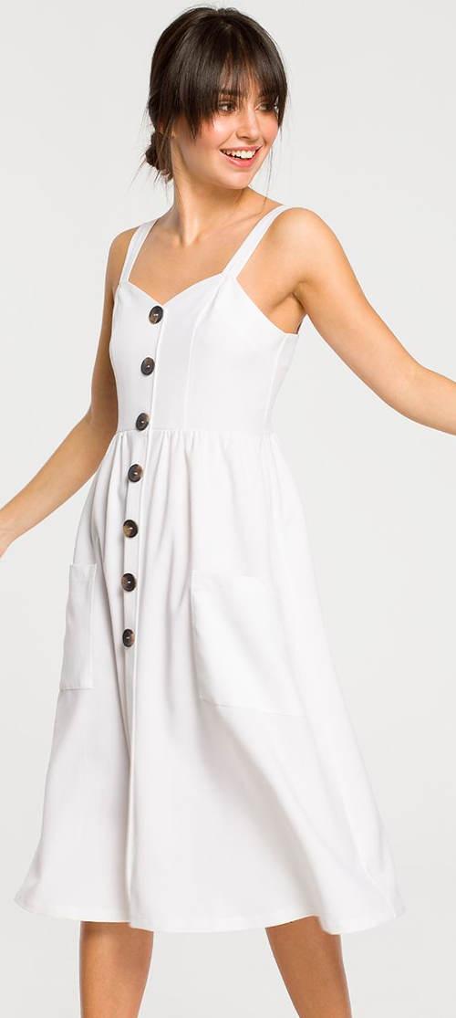 Fehér nyári ruha dekoratív gombokkal
