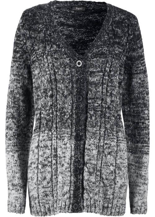 Fekete-fehér kötött női pulóver