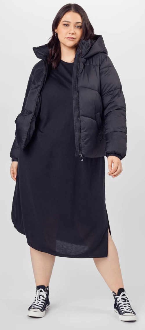 Fekete női kabát teljesebb formákhoz, derékhosszal