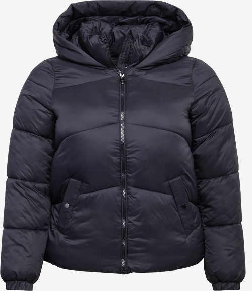 Fekete női steppelt téli kabát, nagy kapucnival