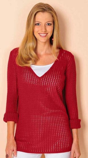 Piros áttört pulóver a plusz mérethez