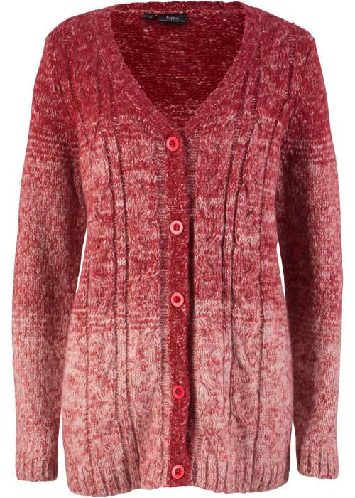 Piros gombos téli pulóver plusz mérethez