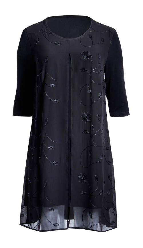 Fekete tunika ruha plusz mérethez