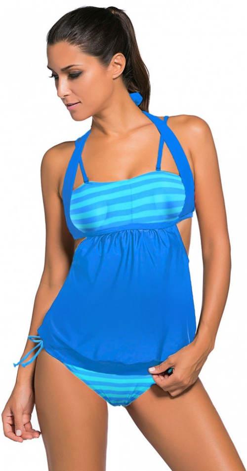 Fürdőruha felsővel a has felett - ideális plusz méretű, még terhes nők számára is