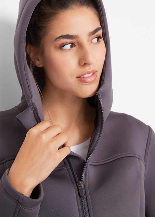 Szürke női funkcionális kabát kapucnival