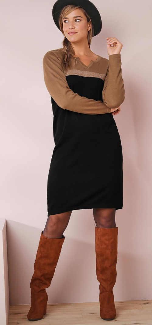 Barna-fekete női kötött ruha Blancheporte