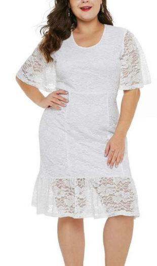 Női csipke ruha, rövid ujjú, fehér