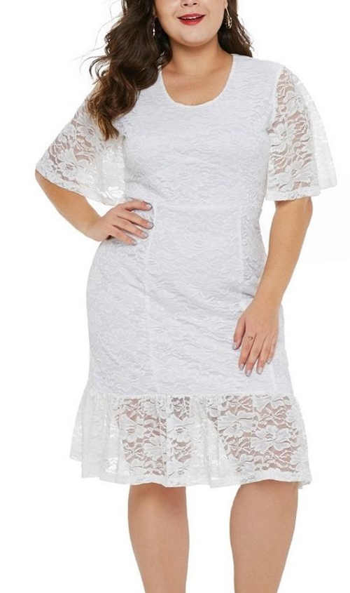 Női csipke ruha rövid ujjú fehér