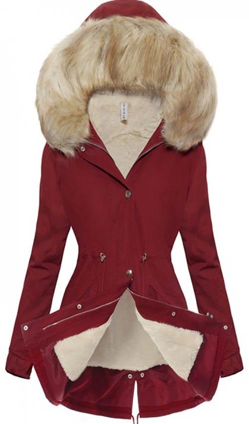 Női téli kabát meleg szőrrel