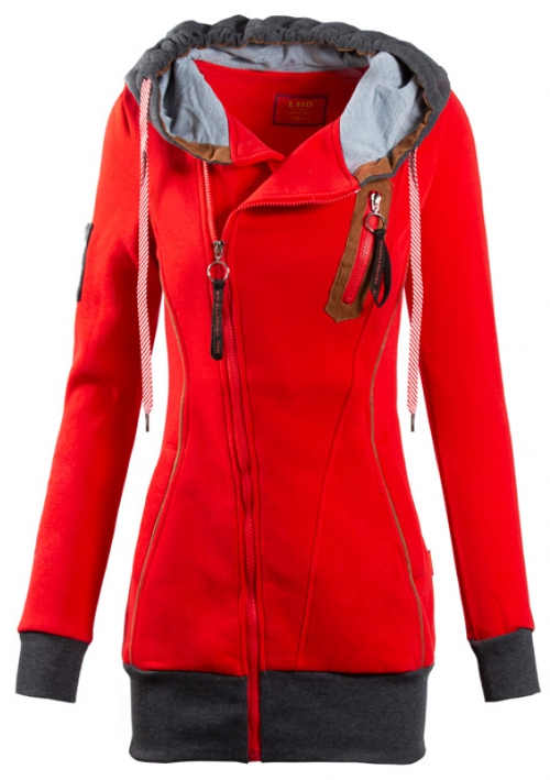 Piros női pulóver, aszimmetrikus rögzítéssel