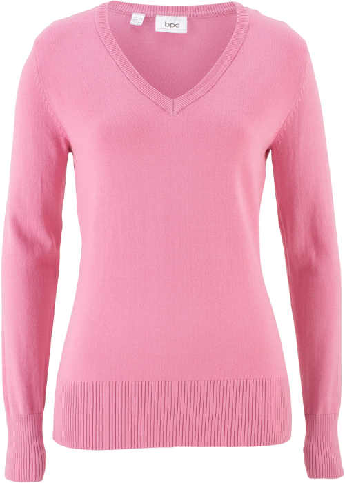 Rózsaszín pulóver rögzítés nélkül, V-nyakú