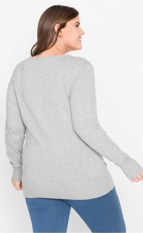 Világosszürke pulóver pufóknak