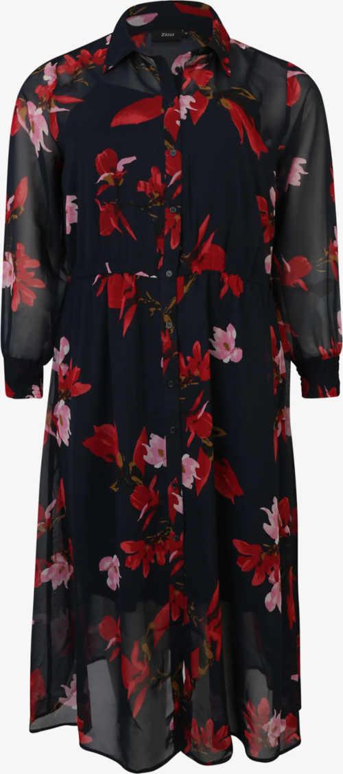 Fekete hosszú ing ruha virágos mintával