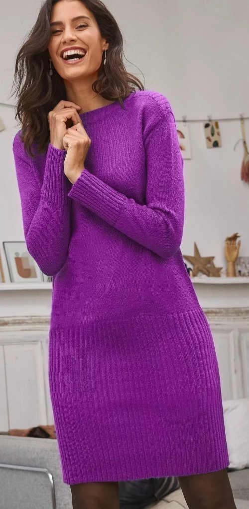 Lila kötött pulóver ruha nőknek