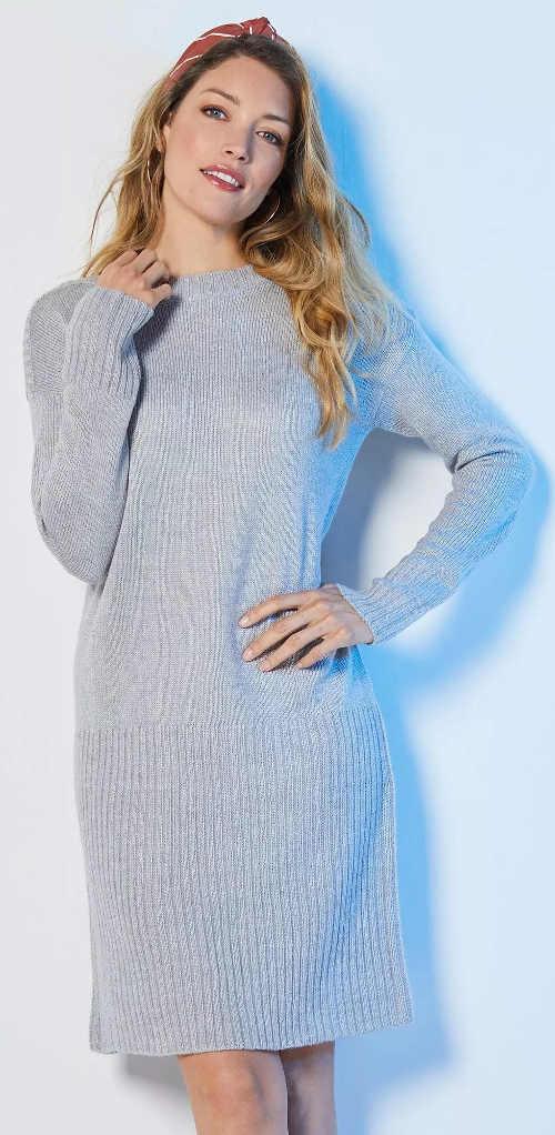 Meleg szürke női pulóver ruha télre