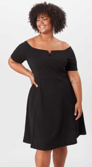 Női fekete térdig érő ruha nem csak társaságnak
