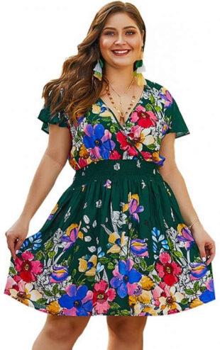 Zöld virágos nyári ruha plusz méretben