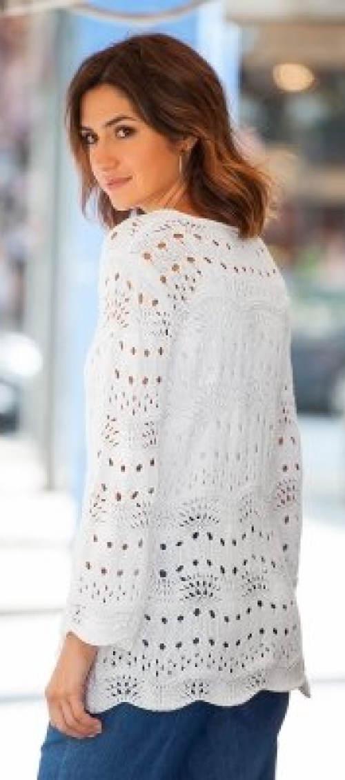 Alkalmi fehér női pulóver