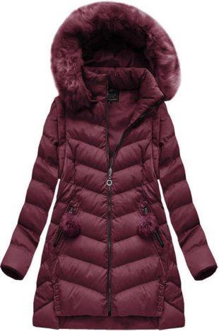 Bordeaux női téli kabát levehető ujjakkal