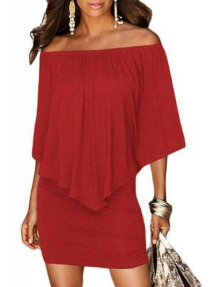 Divatos női ruha piros színben és réteges szabással