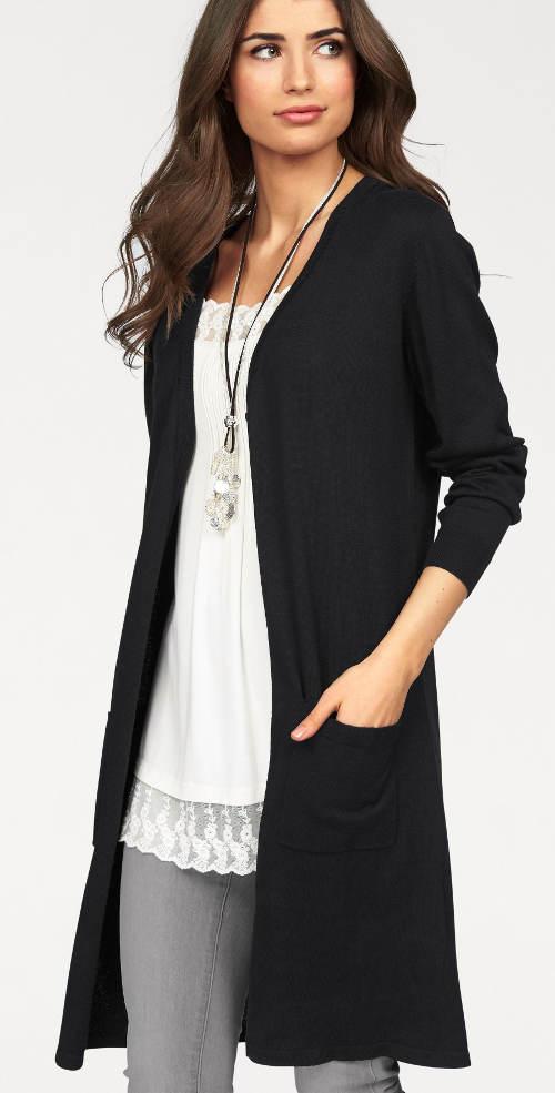 Fekete női térdig érő pulóver