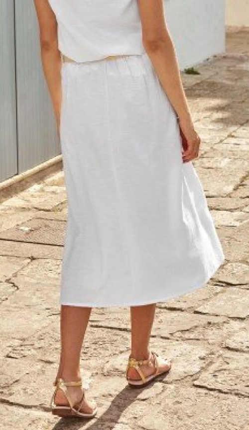 Hosszú fehér nyári szoknya Plus Size