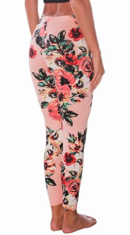 Hosszú kényelmes leggings virágos