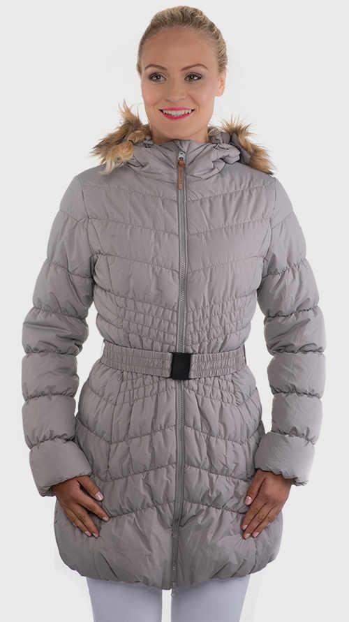 Kedvezményes női szürke steppelt télikabát