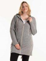 Női meleg cipzáras pulóver hosszabbított hosszúságban