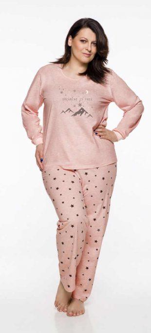 Női pizsama rózsaszín vagy világos narancssárga kivitelben