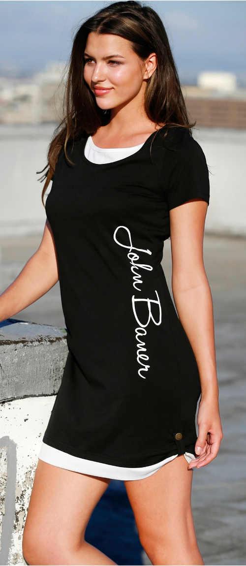 Rövid nyári fekete kötött ruha felirattal az oldalán