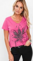 Rózsaszín női póló nyomtatással és strasszkövekkel