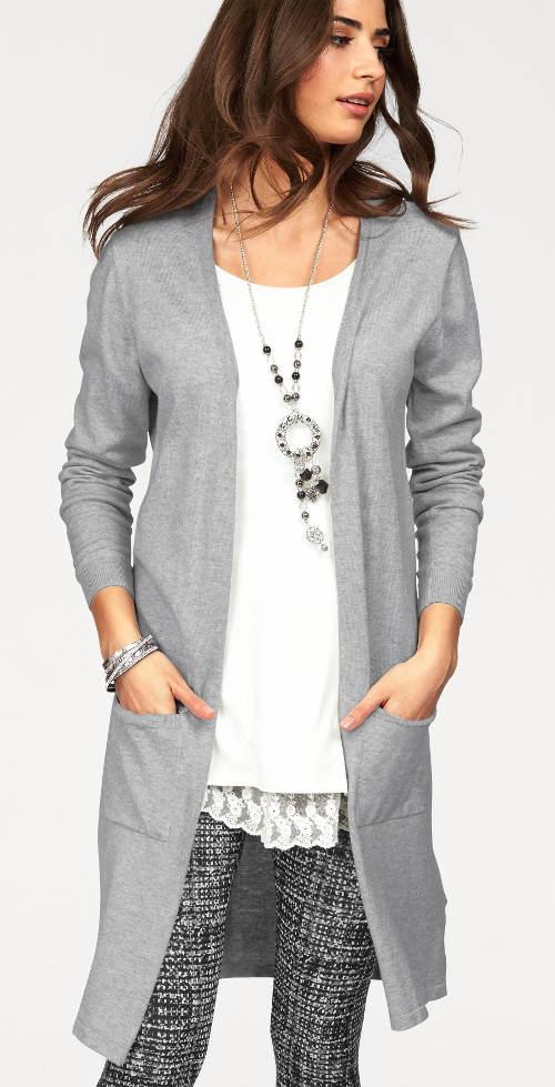 Világosszürke hosszú női pulóver