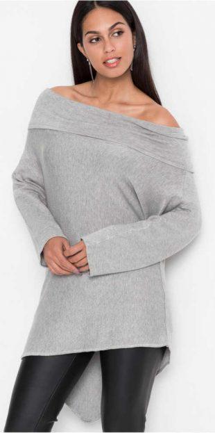 Aszimmetrikus túlméretezett női pulóver Carmen csupasz vállakkal