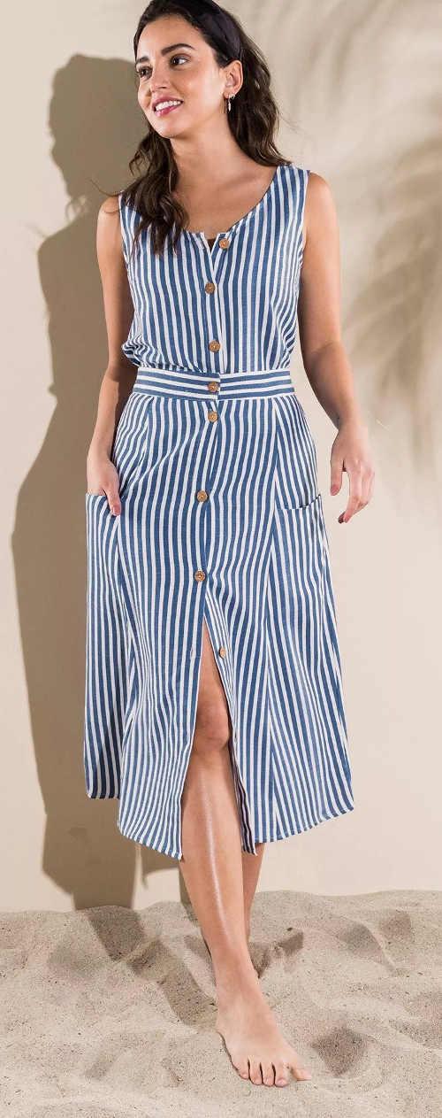 Kék-fehér hosszú csíkos szoknya nyárra