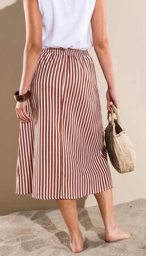 Kényelmes hosszabb barna-fehér csíkos női szoknya