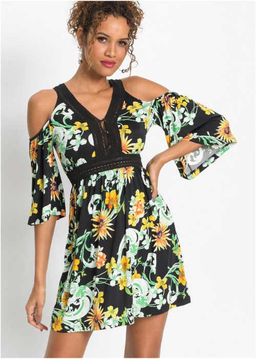 Modern ruha virágmintával, kifinomult szabással