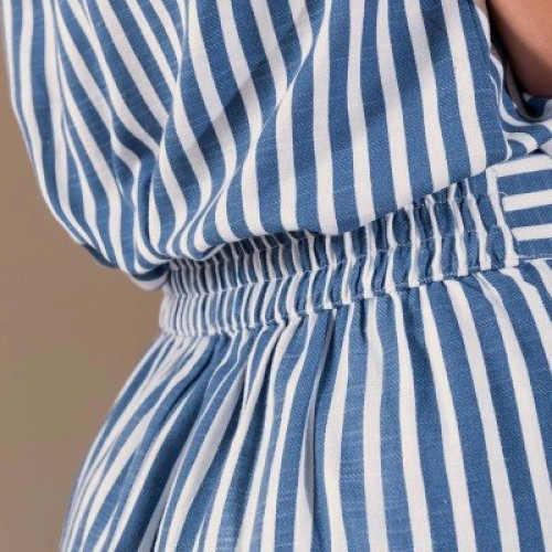 Női csíkos szoknya elasztikus derékkal