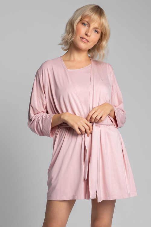 Női világos rózsaszín kimonó köntös rövid hosszúságban