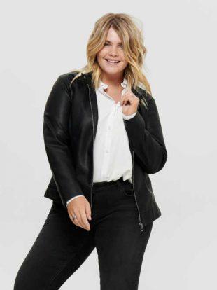 Stílusos női fekete rövid kabát cipzárral, műbőrből, cipzárral