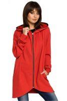 Stílusos női pulóver piros színben, érdekes szabással
