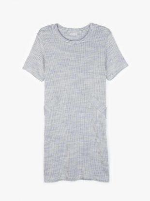 Bordázott kötött ruha kényelmes szabásban kék színben